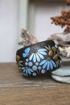 polymer clay bracelet Bracelet with flowers summer от WildOnionArt