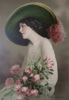 woman in hat with pink roses