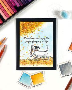 Watercolor Pencils Techniques, Colored Pencil Techniques, Fall Cards, Christmas Cards, Same Ol Same Ol, Sandy Allnock, Autumn Scenes, Dog Cards, Simple Pleasures