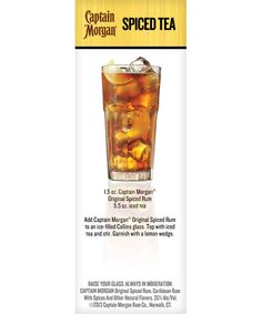 Captain Morgan® Spiced Tea Dessert Drinks, Yummy Drinks, Alcoholic Drinks, Beverages, Caribbean Rum, Sweet Cocktails, Captain Morgan, Cooking Stuff, Spiced Rum