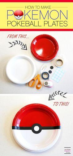 | Pokemon Party Ideas – Dining Table   DIY Pokemon Pokeball Plates | http://soiree-eventdesign.com