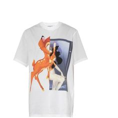GIVENCHY Bambi-print cotton T-shirt (865 CAD) ❤ liked on Polyvore featuring tops, t-shirts, shirts, loose fit t shirts, white t shirt, multi color t shirts, cotton shirts and white cotton t shirts