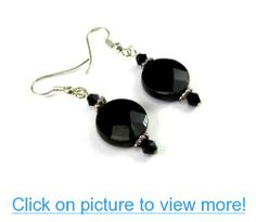 Black Onyx Faceted Coin Dangle Earrings with Black Colored Crystals