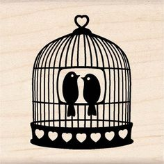 Cute for place setting tags vintage theme   Inkadinkado Wood Mounted Rubber Stamp-Heart Bird Cage.
