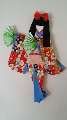 Japanese paper doll, washi kimono, origami paper doll, origami bookmark or art decoration. Please visit and like my Facebook page, www.facebook.com/kitspaperworld