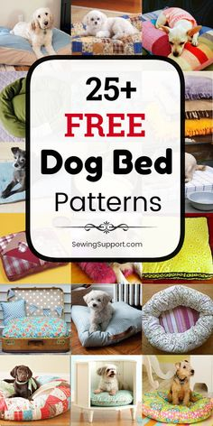 free dog bed sewing patterns, projects, and tutorials for fabric dog beds and pillows. Many simple and easy designs. Instructions for how to make your own homemade dog bed. Cute Dog Beds, Puppy Beds, Dog Beds For Small Dogs, Diy Cat Bed, Diy Dog, Cat Beds, Homemade Pet Beds, Dog Clothes Patterns, Sewing Patterns