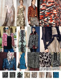 Style Council: Trend Report: Conceptual Skins:  These abstract animal skins were featured by designers like Issa, M Missoni, Versace, and Lanvin in Resort and Fall runway collections.  The fur like prints combine varying skin texture, abstract motifs,  flat areas of color, and small geometric graphics. A different visual and colorful approach to this naturally designed textile.