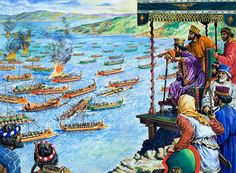 The Battle of Salamis, being watched by Xerxes, King of the Persians (whose forces were to be defeated). Original artwork for illustration on of the World of Wonder Book Lent for scanning by The Gallery of Illustration. Ancient Mesopotamia, Ancient Civilizations, Battle Of Salamis, Greco Persian Wars, Classical Greece, Ancient Persian, Ancient Near East, Science Illustration, Persian Culture