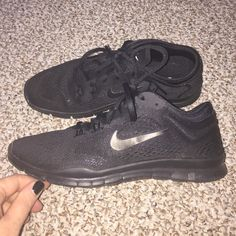 ✔️ Nike Free 5.0  Worn once and in like new condition! All black women's Nike Free 5.0 in size 9. Bought these to wear with all my patterned leggings. Looks so good! Sorry, no box. Smoke and pet free home. Thanks for looking! Nike Shoes Athletic Shoes