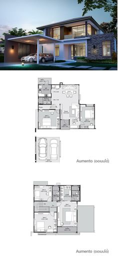 2 bedrooms on ground floor. Modern House Floor Plans, Dream House Plans, Modern House Design, Casas Containers, Villa Design, Facade House, House Layouts, Architecture Plan, Bungalows