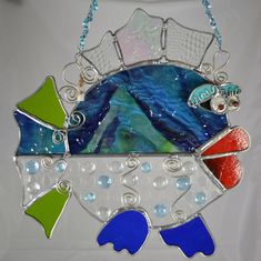 "Sea Star Stained Glass - Whimsical Stained Glass Fish 13"" x 14"" Suncatcher"