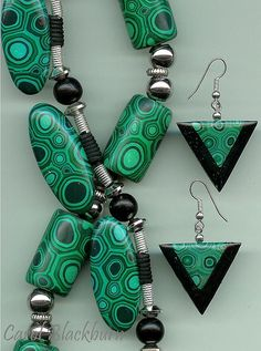 Faux Malachite, Carol Blackburn, polymer clay.