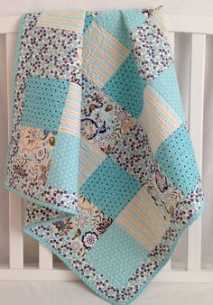Baby Girl Quilt featuring Modern Floral Fabrics from Riley Blake