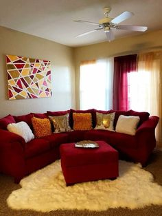 20 Lovely Living Room Design Ideas for 2019 - Rearwad Red Couch Living Room, Red Living Room Decor, Home Living Room, Apartment Living, Living Room Furniture, Living Room Designs, Bedroom Decor, Retro Apartment, Red Living Rooms