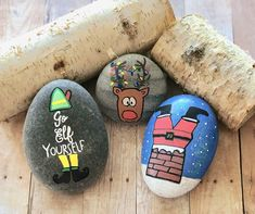 """Try these silly Christmas rock painting ideas like """"Go Elf Yourself"""", Santa stuck in a chimney, and Rudolph the red nose reindeer. Rock Painting Ideas Easy, Rock Painting Designs, Painting For Kids, Red Nosed Reindeer, Santa And Reindeer, Christmas Rock, Christmas Crafts, Christmas Ideas, Christmas Activities"""