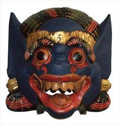 Barong Tribal Mask Primitive Carved Bali Wood Blue