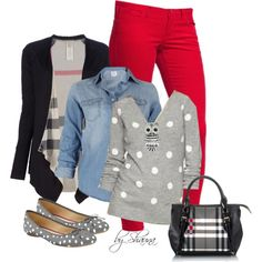 """polka dots and stripes"" afora Jean Outfits, Fall Outfits, Love Song Baby, Polka Dot Sweater, Red Pants, Go Shopping, Dress Me Up, Winter Fashion, Polka Dots"
