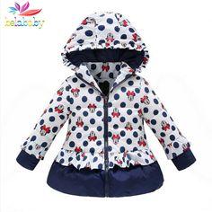577df639194c Belababy Girls Winter Coat Children Cute Polka Dot Hooded Down Jacket Kids  Girl Warm Outwear Baby