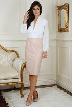 Mika Pink Leather Midi Skirt