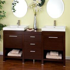 """59"""" Dumont Double Sink Vanity - Wenge - contemporary - Bathroom Vanities And Sink Consoles - Signature Hardware"""