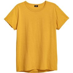 Slub Jersey T-shirt $12.99 ($13) ❤ liked on Polyvore featuring tops, t-shirts, yellow t shirt, yellow top, sleeve t shirts, sleeve top and round top