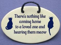 Amazon.com: There's nothing like coming home to your loved one and hearing them meow. Mountain Meadows ceramic plaques and wall signs with sayings and quotes about cats. Made by Mountain Meadows in the USA.: Home & Kitchen