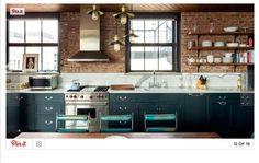 Take a peek inside Kirsten Dunst's Soho loft overlooking the Hudson River (source) Kitchen Ikea, Loft Kitchen, Kitchen Dining, Kitchen Cabinets, Dark Cabinets, Kitchen Brick, Dining Room, Green Kitchen, Exposed Brick Kitchen