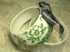 Charming Bone China Teacup Bracelet - Emerald Green Floral Pattern/bluey-grey satin ribbon and bow