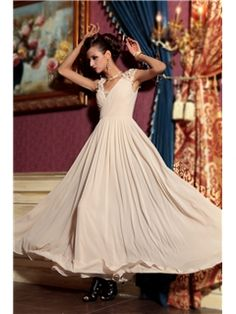 Elegant V Neck Floor-length Sleeveless Evening Pageant Dress