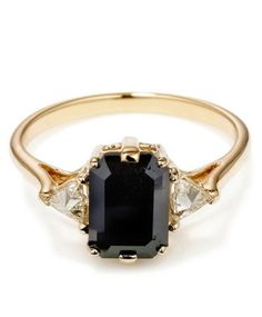 Black Spinel Bea Ring by Anna Sheffield