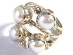 Silver ring with sea pearls (Stříbrný prsten s mořskými perlami) #ring #rings #pearl #jewelry  https://autorskesperky.com/en/rings/10-silver-ring-with-sea-pearls.html