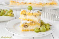 gooseberry cheesecake bars / kruche ciasto z agrestem i serem ilovebake. Cheesecake Bars, Cheesecakes, Vanilla Cake, Sweets, Baking, Recipes, Therapy, Polish, Kitchens