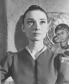 Audrey Hepburn on the set of War and Peace  1955