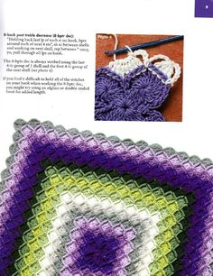 Bavarian crochet - purple and green blanket. I love the pattern! I have no idea how to crochet though:( Crochet Afghans, Crochet Books, Crochet Squares, Love Crochet, Crochet Crafts, Crochet Yarn, Yarn Crafts, Crochet Stitches, Yarn Projects