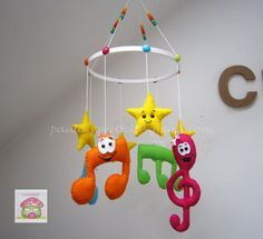 Happy musical notes hanging mobile for babies by MySweetfelt