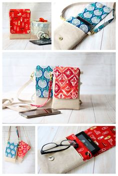 Mini crossbody bag Pdf Pattern, Cell Phone Sleeve Pdf Pattern, Phone pouch mini sling bag DIY, cell phone pouch pdf pattern