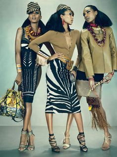 """Feminine Mystique"" W Magazine March 2012.  Models: Anais Mali, Jourdan Dunn and Jasmine Tookes. Ph: Emma Summerton."