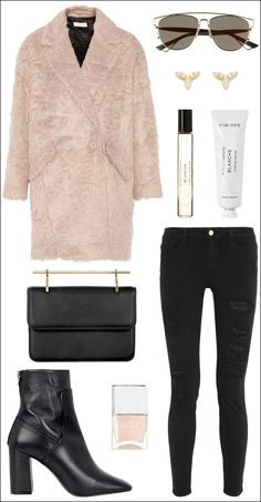 sleek sunglasses, pink fur coat, stud earrings, clutch, skinny ripped jeans and ankle boots #style #fashion #winter
