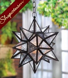 40 Bronze Wholesale Hanging Lamps Clear Glass Star Lanterns Large