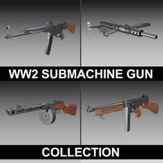 WW2 Submachine guns - Collection 3D Model- The collection contains 4 variants of famous Submachine guns used in the WW2.    The collection includes the american Thompson M1A1, the british STEN MK.II, the german Sturmgewehr MP44 and the russian PPSh-41.        This product is a collection of multiple other products found on this side. The included models can also be purchased separately. Click on the member name on the page to see all available models.    Originally modelled in cinema4D…