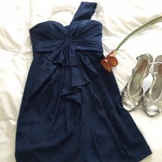 BCBGMAXAZRIA Special occasion dress Elegant BCBGMaxazria navy blue, one-shoulder, dress for any special occasion. Flattering pleats and folds. SIZE 4P. Worn only 1 time! Excellent condition! BCBGMaxAzria Dresses One Shoulder