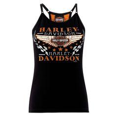 - Harley-Davidson® Womens Racy - Racer Back Black Cotton Sleeveless Tank - Barnett Harley-Davidson® Harley Davidson Womens Clothing, Harley Davidson Kleidung, Harley Davidson Bikes, Harley Shirts, Harley Gear, Harley Apparel, Biker Chick Style, Biker Wear, Harley Davison