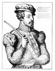 The Consert unsigned series of French woodcuts , c . 1570 . Gentleman holding a curved Zinke ( Cornet à bouquin ) . stock photo