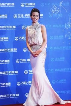 Kate Beckinsale wearing Elie Saab Couture Fall 2012 Sleeveless Dress Oriental Movie Metropolis launch in China September 22 2013