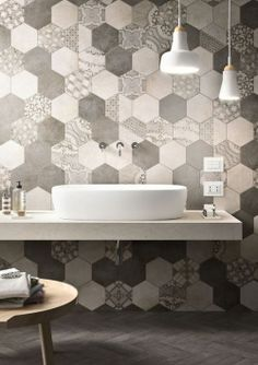 Cool bathroom. #interiordesign #bathroom #hexagon