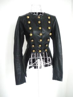 Vintage Leather Gothic Military jacket Steampunk by shmooozin, $150.00