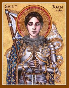 """St. Joan of Arc icon May 30th, 2014 4.5 x 6 inches Ink, watercolor, gold leaf """"Lord, Joan is Your splendid work, A heart of fire, a warrior's soul: You gave them to the timid virgin Whom You ..."""