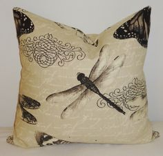 Butterfly Dragonfly Natural Print Decorative Pillow by HomeLiving, $18.00