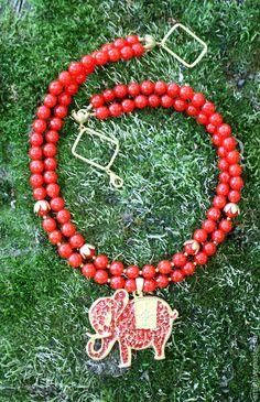 Колье, бусы ручной работы. Колье с красным нефритом и Индийским слоном. ART IrinaGolubeva. Интернет-магазин Ярмарка Мастеров.