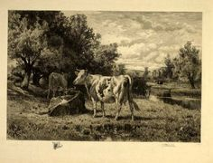 On the Neshimaney, Peter Moran, 1886; print on paper